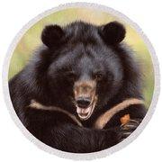 Zebedee Moon Bear - In Support Of Animals Asia Round Beach Towel