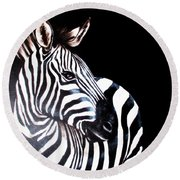 Zebra 2 Round Beach Towel