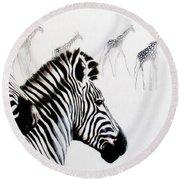 Zebra And Giraffe Round Beach Towel