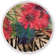 Zebra And Red Sunflowers  Round Beach Towel
