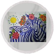 Zebra And Things Round Beach Towel