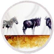 Zebra And Wildebeest Round Beach Towel
