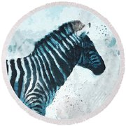 Zebra- Art By Linda Woods Round Beach Towel