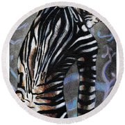 Zebra Boy At Dawn Round Beach Towel