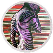 Zebra Boy Battle Wounds Round Beach Towel