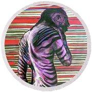 Zebra Boy Battle Wounds Round Beach Towel