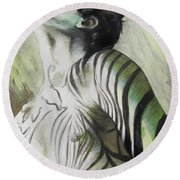 Zebra Boy In Spring Round Beach Towel