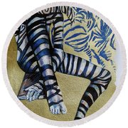 Zebra Boy The Lost Gold Drawing  Round Beach Towel