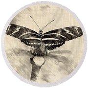 Zebra Butterfly Sketch Round Beach Towel