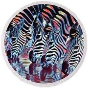 Zebra Dazzle Round Beach Towel
