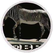 Zebra Design By John Foster Dyess Round Beach Towel