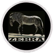 Zebra Design By John Foster Dyess Round Beach Towel