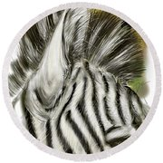 Zebra Digital Round Beach Towel