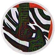 Zebra Guitar Rendering Round Beach Towel by Bill Cannon