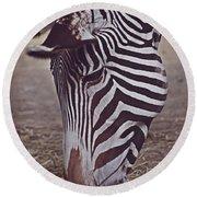 Zebra Head Round Beach Towel