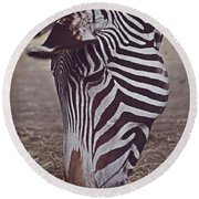Zebra Head Round Beach Towel