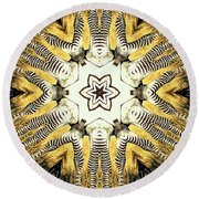 Zebra I Round Beach Towel by Maria Watt