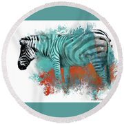 Zebra In Color Round Beach Towel by Kathy Russell