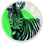 Zebra In Green Round Beach Towel