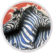 Zebra In Love Round Beach Towel