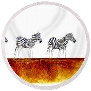 Zebra Landscape - Original Artwork Round Beach Towel