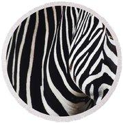 Zebra Close-up Round Beach Towel