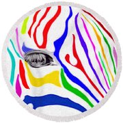 Zebra Nothing Is Black And White Round Beach Towel