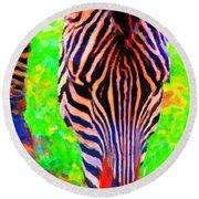 Zebra . Photoart Round Beach Towel