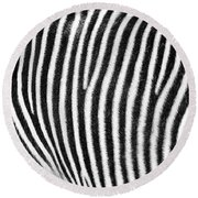 Zebra Print Black And White Horizontal Crop Round Beach Towel