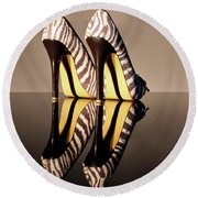 Round Beach Towel featuring the photograph Zebra Print Stiletto by Terri Waters