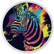 Zebra Splatters Round Beach Towel