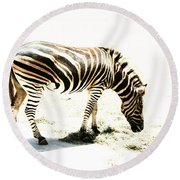 Round Beach Towel featuring the photograph Zebra Stripes by Stephen Mitchell