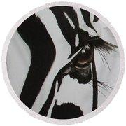 Zebra Tears Round Beach Towel