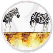 Zebra Trio - Original Artwork Round Beach Towel