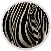 Zebra Up Close Round Beach Towel