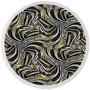Zebra Vii Round Beach Towel by Maria Watt
