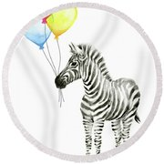 Baby Zebra Watercolor Animal With Balloons Round Beach Towel