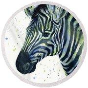 Zebra Watercolor Blue Green  Round Beach Towel by Olga Shvartsur