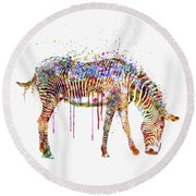 Zebra Watercolor Painting Round Beach Towel by Marian Voicu