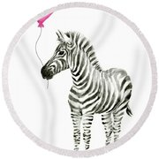 Zebra Watercolor Whimsical Animal With Balloon Round Beach Towel