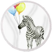 Zebra Watercolor With Balloons Round Beach Towel