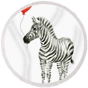 Zebra With Red Balloon Whimsical Baby Animals Round Beach Towel