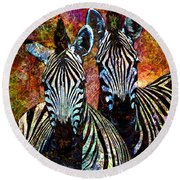 Zebras Round Beach Towel