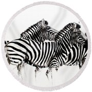 Zebras - Black And White Round Beach Towel