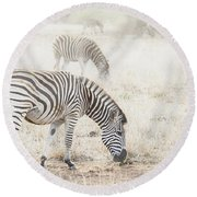 Zebras In Dreamy Scene - Horizontal Banner Round Beach Towel