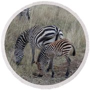 Zebras In Kenya 1 Round Beach Towel