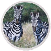 Zebras In South Africa Round Beach Towel
