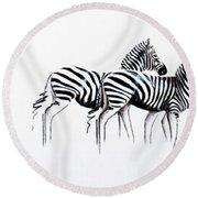 Zebrascape - Original Artwork Round Beach Towel
