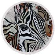 Zebroid Round Beach Towel