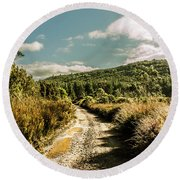 Zeehan Dirt Road Landscape Round Beach Towel